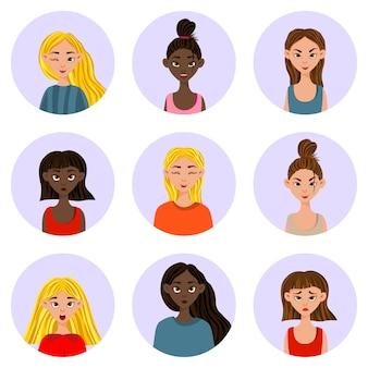 Ragazze con diverse espressioni facciali ed emozioni