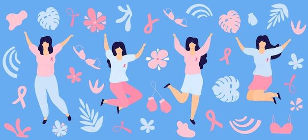 Le ragazze con i nastri rosa saltano e si divertono. mese nazionale di sensibilizzazione sul cancro al seno.