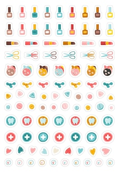 Pacchetto di adesivi per la bellezza e la salute delle ragazze collezione di illustrazioni adesive per il pianificatore trucco per manicure