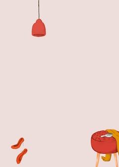 Banner di disegno carino di vettore di sfondo rosa di stile di vita femminile