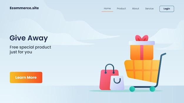 Regala la campagna per il volantino del modello di banner della pagina di destinazione della home page del sito web
