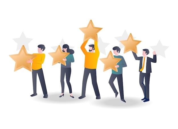 Dai una recensione a cinque stelle in un'illustrazione piatta