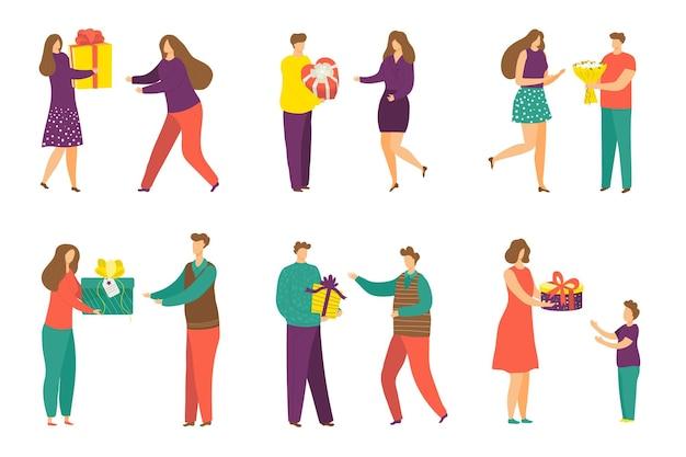 Dare set regalo, illustrazione vettoriale. personaggio uomo donna persone tenere presente, celebrazione delle vacanze con sorpresa, isolato su collezione bianca.