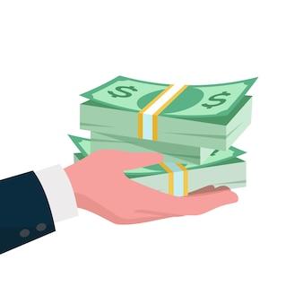 Dare il concetto di denaro. mano che dà dollari all'altra mano. illustrazione di finanza aziendale