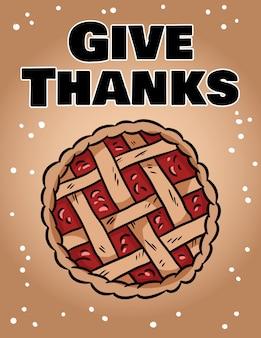 Ringrazia la simpatica carta accogliente con la torta autunnale. ringraziamento hygge