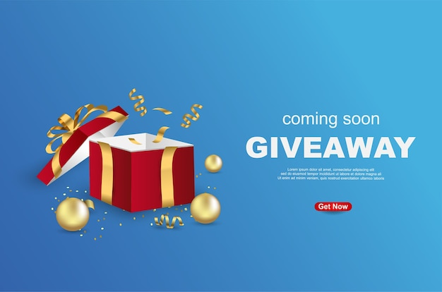 Giveaway banner template design con confezione regalo aperta su sfondo blu.
