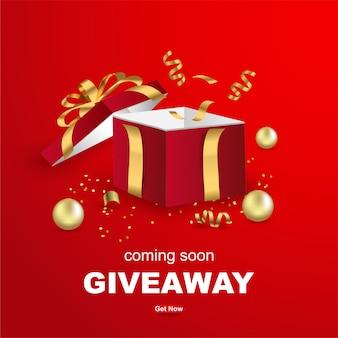 Giveaway banner template design con confezione regalo aperta su sfondo rosso.