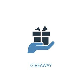 Giveaway concept 2 icona colorata. illustrazione semplice dell'elemento blu. disegno di simbolo del concetto di omaggio. può essere utilizzato per ui/ux mobile e web