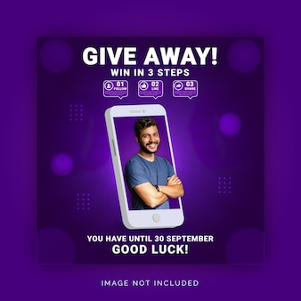 Concetto di giveaway per win it three steps instagram banner modello di post sui social media