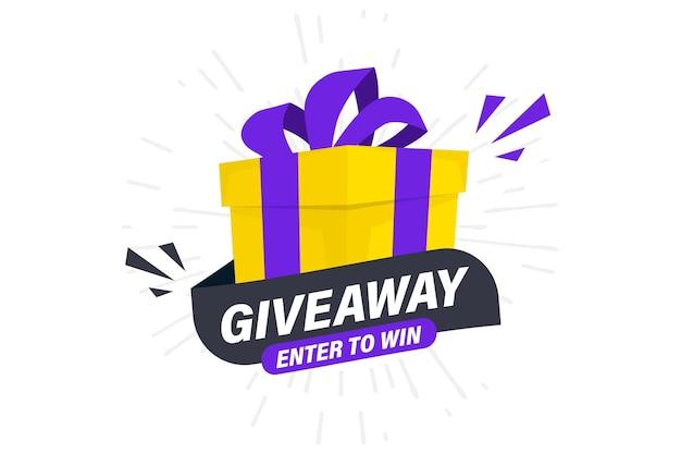 Giveaway, entra per vincere. modello di post sui social media per il design della promozione o il banner del sito web. vinci un premio in palio. confezione regalo con lettere tipografiche moderne giveaway. concetto regalo omaggio per i vincitori