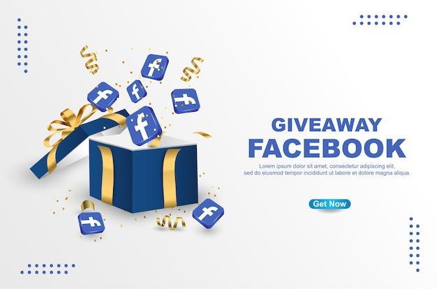 Giveaway facebook con icona modello banner facebook