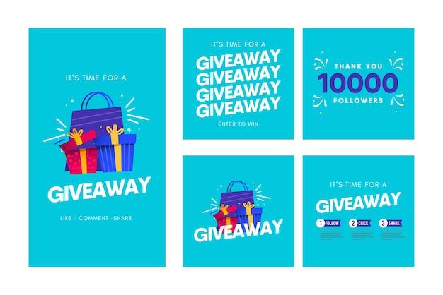Modello di concorso di social media giveaway.