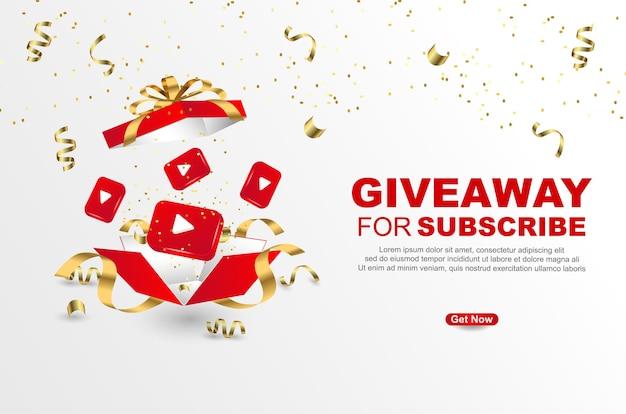 Giveaway per iscriversi con confezione regalo realistica su sfondo bianco