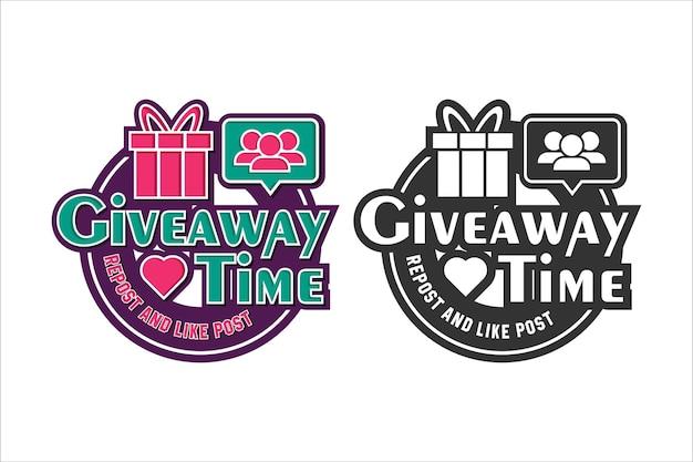 Tempo in regalo grazie logo di design follower
