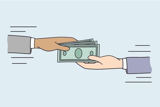 Dare tangente e concetto di denaro. mani umane che danno e prendono un mucchio di soldi contanti valuta che fanno tangenti o danno illustrazione vettoriale di stipendio
