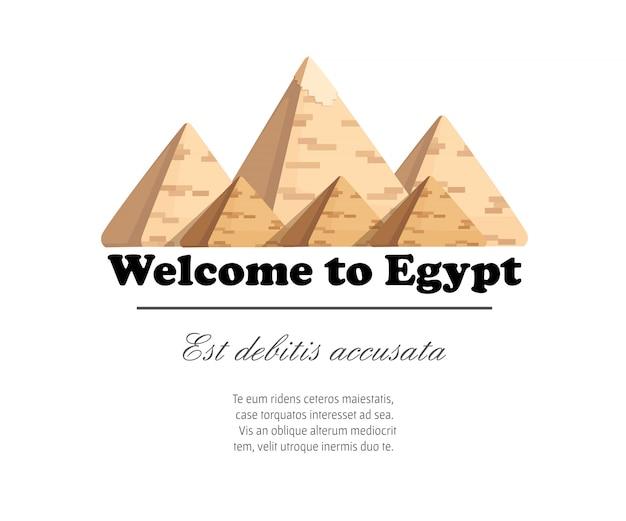La piramide di giza complessa piramidi egiziane meraviglia diurna della grande piramide mondiale di giza illustrazione su sfondo bianco con posto per il vostro testo Vettore Premium