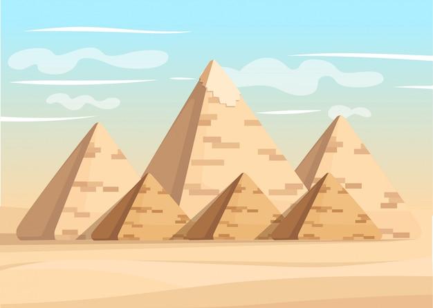 Piramide di giza complessa meraviglia diurna piramidi egiziane della grande piramide mondiale di illustrazione di giza