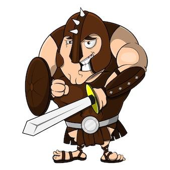 Il gladiatore che trasporta spada e scudo sorride timoroso quando ti prepari a combattere nell'arena