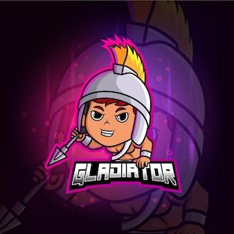 Mascotte gladiatore esport logo colorato