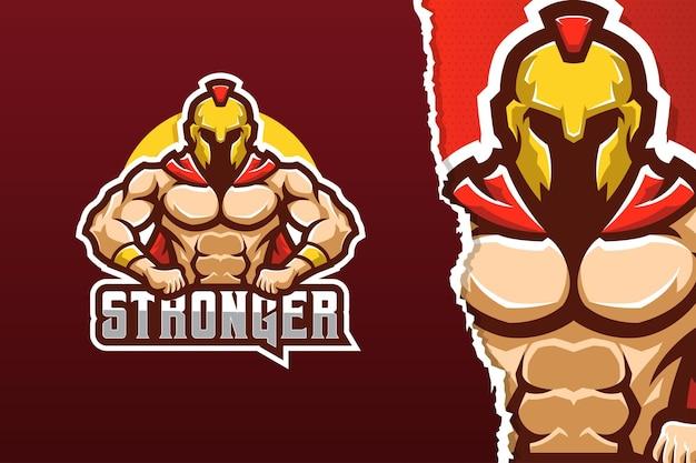 Modello di logo della mascotte del gladiatore