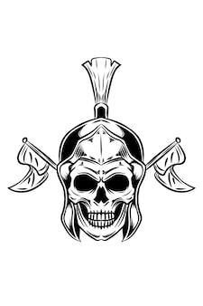 Teschio gladiatore con illustrazione vettoriale bandiera