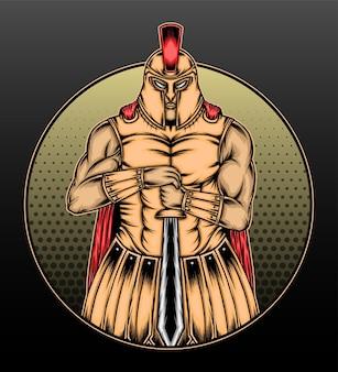 Disegno dell'illustrazione del guerriero spartano del gladiatore