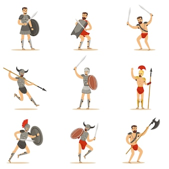 Gladiatori dell'epoca dell'impero romano in armature storiche con spade e altre armi che combattono nell'arena set di personaggi dei cartoni animati