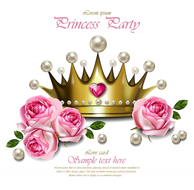 Glamorous corona d'oro con perle, bella carta reale