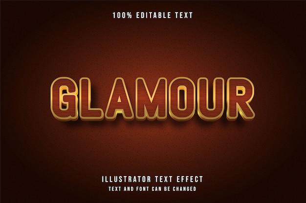 Glamour, 3d testo modificabile effetto giallo arancio oro stile