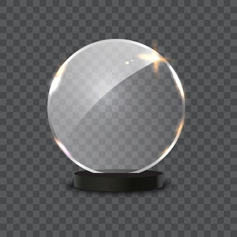 Premio di vetro isolato su sfondo trasparente