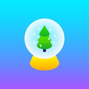 Concetto dell'albero di natale di gradiente della sfera di vetro. illustrazione vettoriale di isometria del segno di inverno.