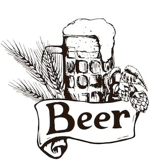 Bicchiere di birra. illustrazione d'epoca disegnata a mano.