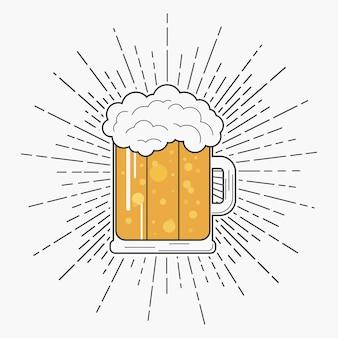 Bicchiere di birra con schiuma e sunburst in stile hipster tipografia per tshirt e logo design