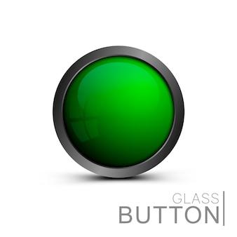 Pulsante verde vuoto di vetro per la progettazione di app e giochi.