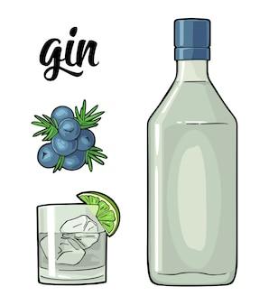Vetro e bottiglia di gin e ramo di ginepro con frutti di bosco