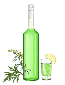 Bottiglia di vetro e vetro con assenzio verde