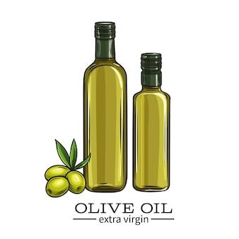 Bottiglia di vetro di olio d'oliva