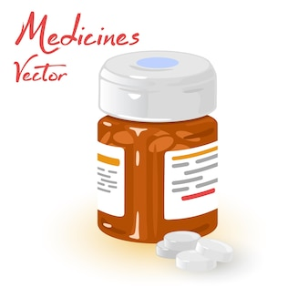 Bottiglia di vetro con pillole per malati