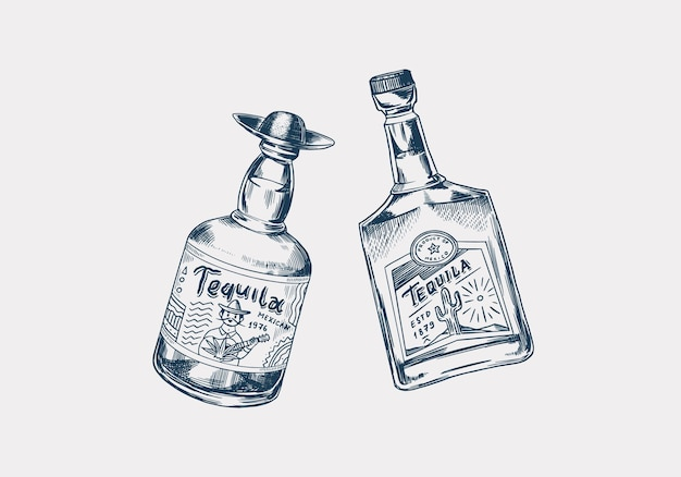 Bottiglia di vetro con bevanda forte