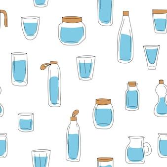 Bottiglia di vetro con illustrazione di acqua su sfondo bianco. vettore disegnato a mano