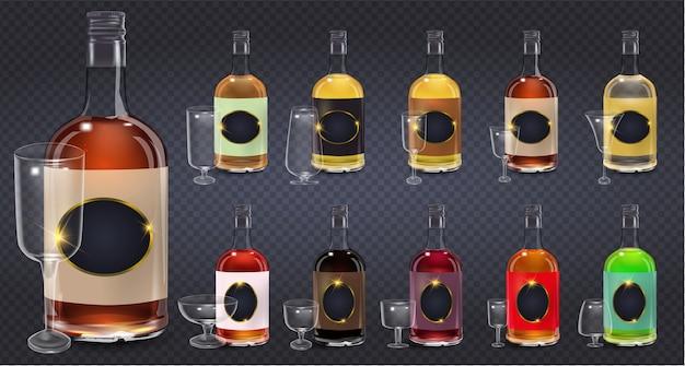 Bottiglie di vetro o icone di cristalleria su sfondo trasparente. bottiglia di aceto di vino in vetro con coperchio in plastica ed etichetta vuota. illustrazione. collezione di bottiglie di vetro
