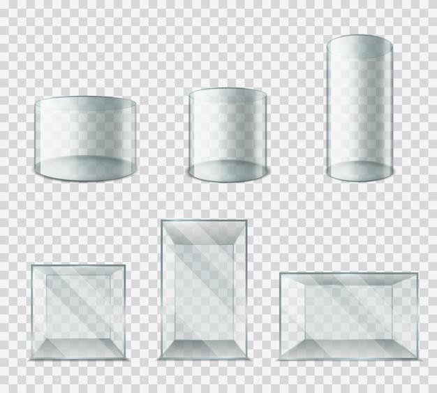 Scatola di vetro. cubo di plastica con riflessi abbaglianti lucidi, cilindro vuoto mostra vetrina 3d realistico museo vuoto piedistallo set expo stand isolato su sfondo trasparente collezione di prototipi vettoriali