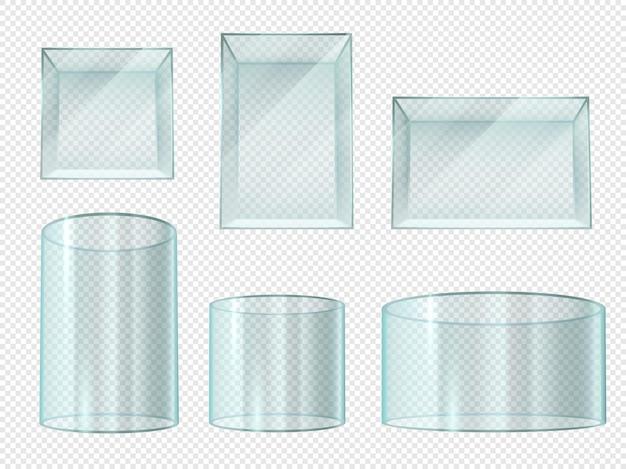 Scatola di vetro. vetrine vuote a cubo e cilindro in cristallo trasparente. supporto del museo, piedistallo del prisma dell'expo isolato insieme realistico di vettore 3d. illustrazione cubo e cilindro di vetro, scatola di cristallo trasparente