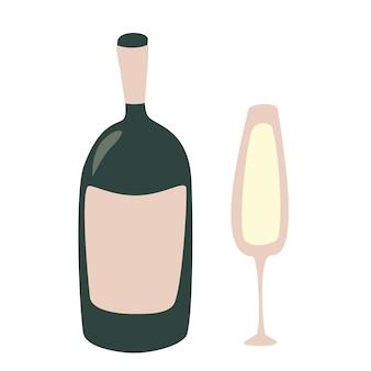 Bicchiere di champagne e bottiglia cheers celebration holiday brindisi