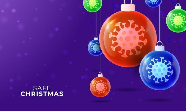 Pallina di vetro per il coronavirus di natale. eventi e festività natalizie durante una pandemia.