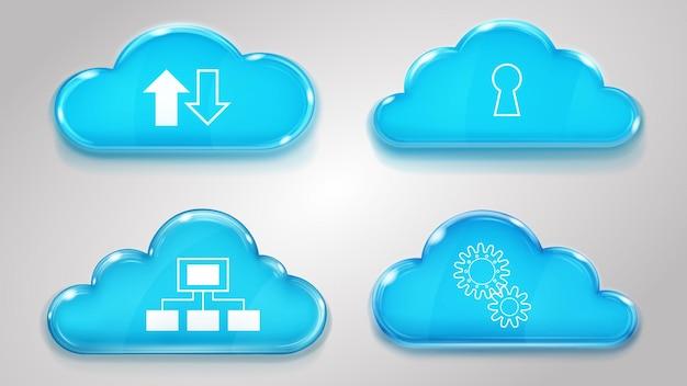Nuvole di vetro con icone di servizi cloud in colori azzurri