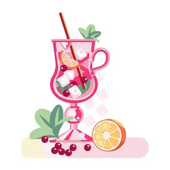 Bicchiere di cocktail con una cannuccia limone mirtilli rossi foglie di menta ghiaccio festive vegan