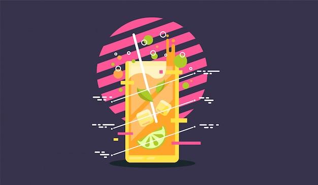 Bicchiere di cocktail con icona di paglia.