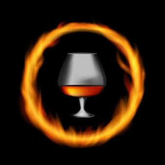 Collezionista di vetro cognac francese di 50 anni su sfondo di burni