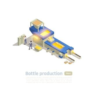 Composizione isometrica degli operatori della linea di produzione automatizzata hot-end della fabbrica di contenitori di vetro con elaborazione batch del forno
